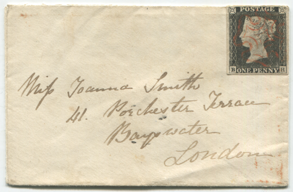 1840 envelope from Helensburgh to London, franked Plate 1a BH (worn plate)