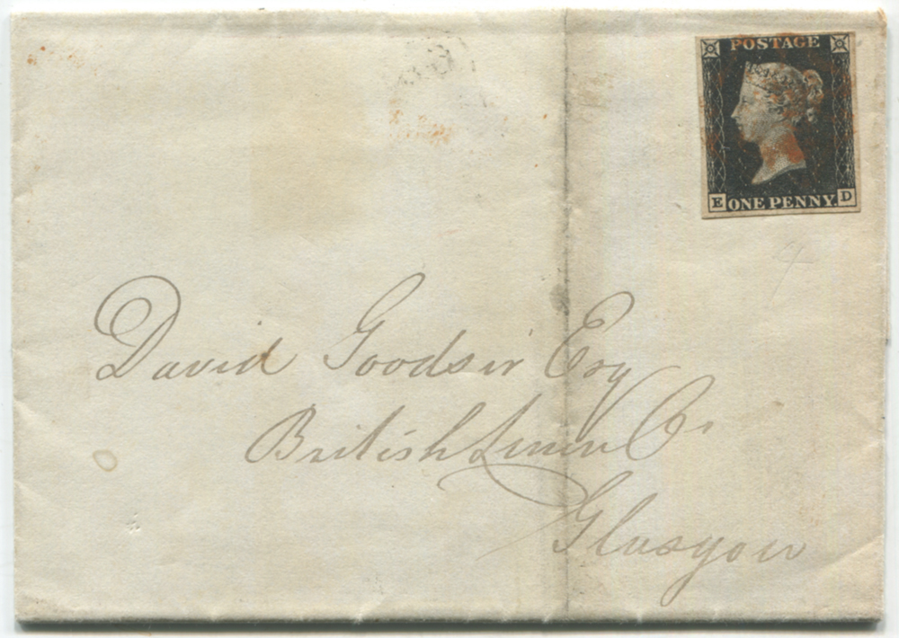 1840 cover from Ayr to Glasgow, franked Plate 1b ED