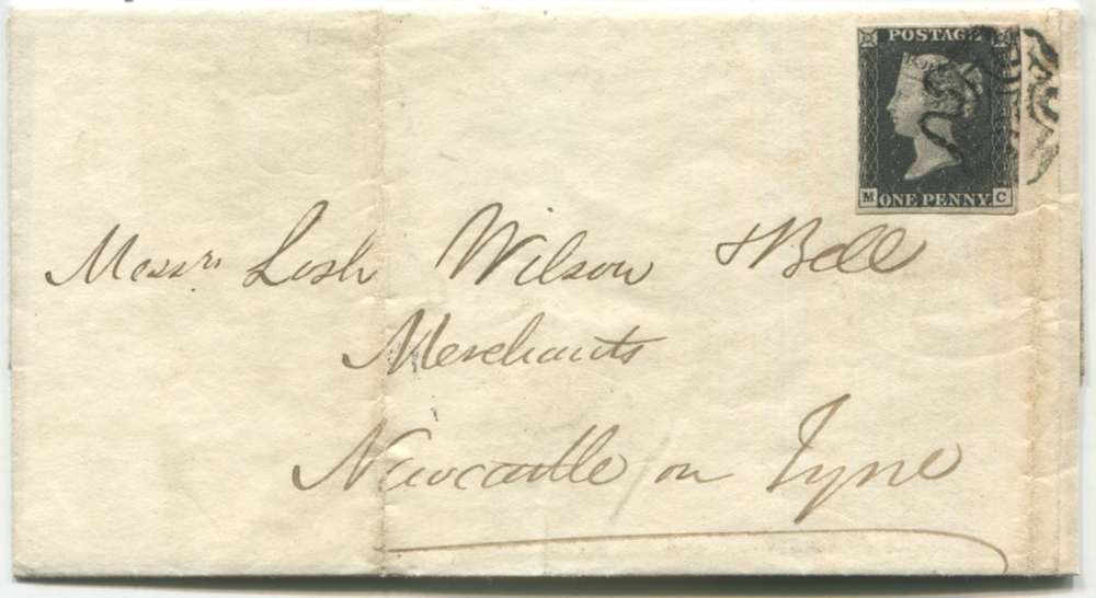 1841 cover from Girvan to Newcastle on Tyne, franked Plate 4 MC
