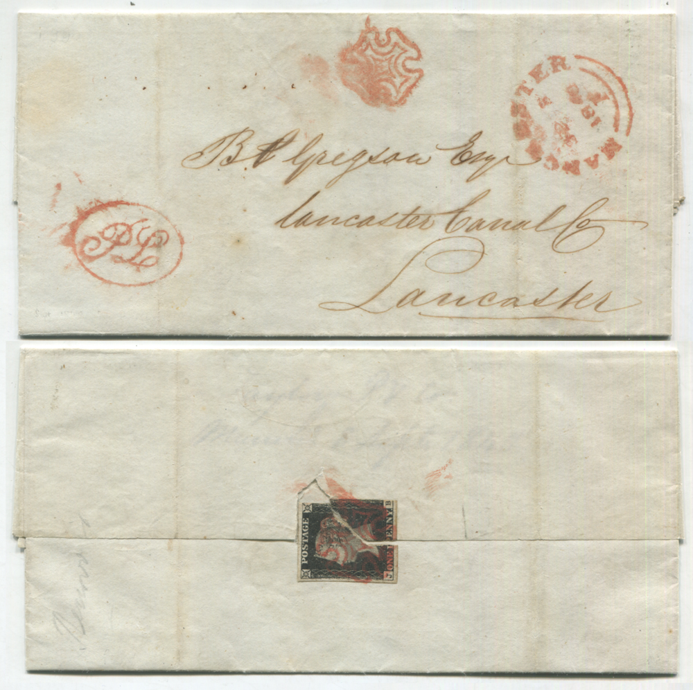 1840 entire from Manchester to Lancaster - VERY UNUSUAL - 1d black on reverse used as seal Plate 5 JB