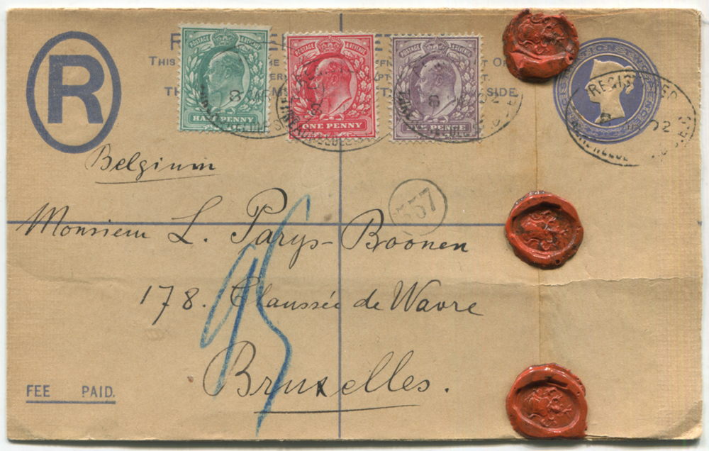 1902 2s registered envelope to Bruxelles, Belgium, uprated KEVII ½d, 1d & 6d