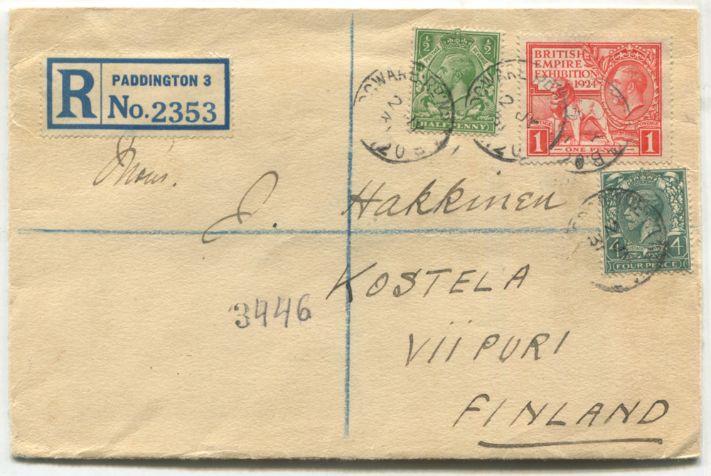 1931 registered 'Paddington' envelope to Viipuri, Finland, franked 1d British Empire Exhibition Wembley, ½d & 4d KGV defins, tied Edgware Rd c.d.s's, reverse with Viipuri arrival cancels.