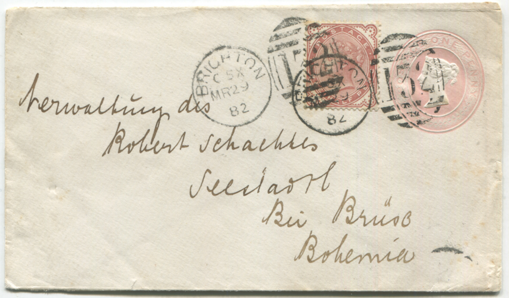 1882 penny pink envelope uprated with 1½d Venetian red (SG.167) both cancelled by Brighton duplexes for March 29th, addressed to Seestadtl, Bohemia with receiving c.d.s. on reverse.