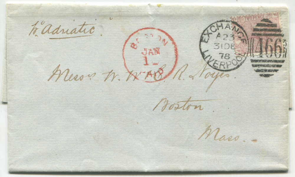 1878 envelope from Liverpool to Boston, USA, franked 2½d rosy mauve Pl.11 (SG.141), tied by a fine strike of the Liverpool '466' duplex