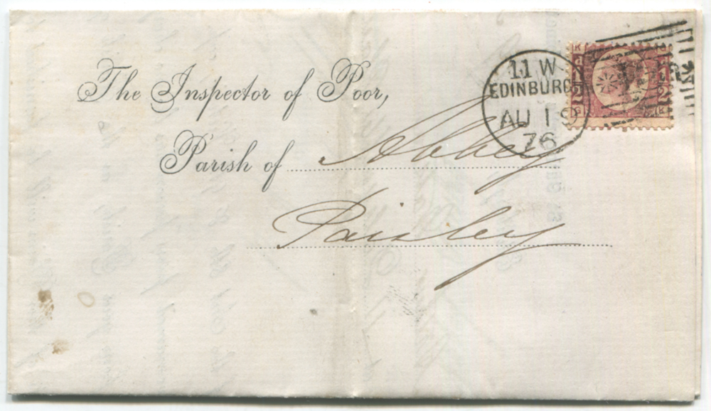1876 cover from Edinburgh to Paisley, franked ½d rose red Pl.12
