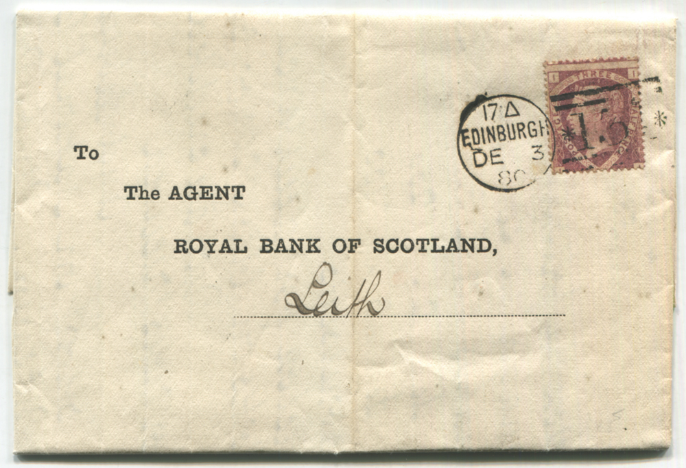 1880 Royal Bank of Scotland statement sent Edinburgh to Leith, franked 1½d lake red Pl.3