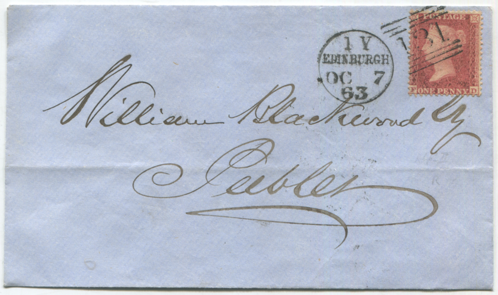1862 1d rose red reserve Pl.15 FD used on a cover to Peebles