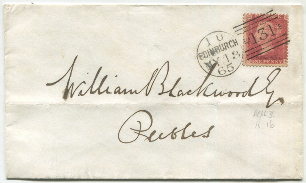 1862 1d rose red reserve Pl.16 OG used on a cover from Edinburgh to Peebles
