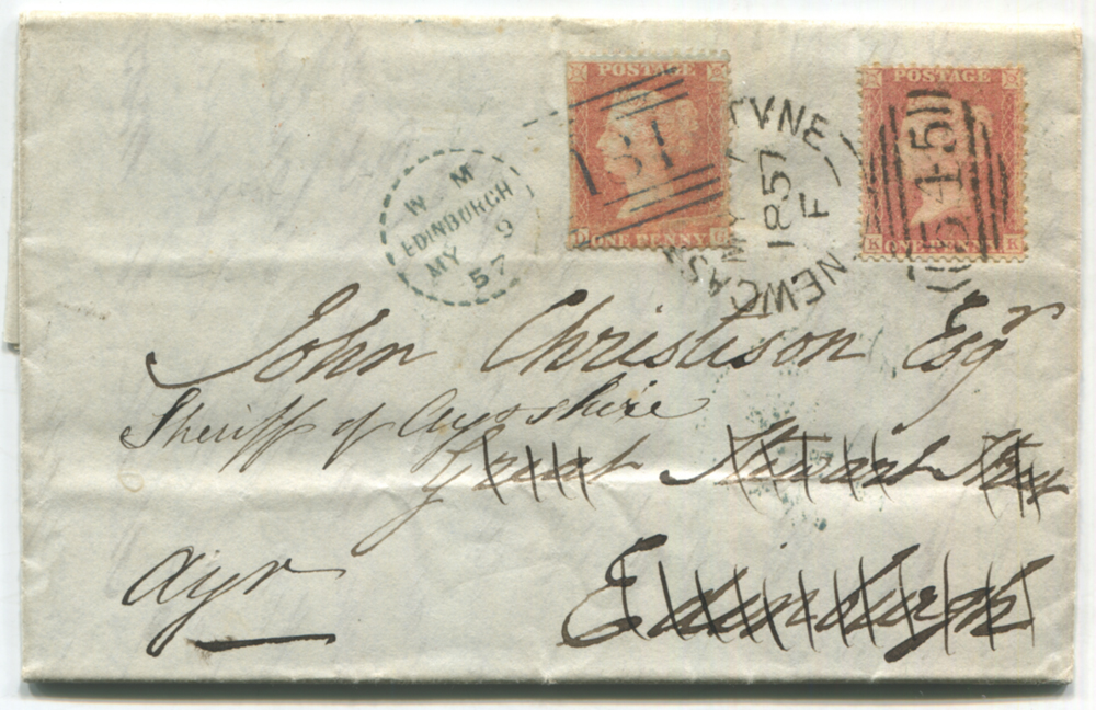 1857 May 7th cover from Newcastle upon Tyne to Edinburgh, franked 1d Stars, tied Newcastle sideways duplex