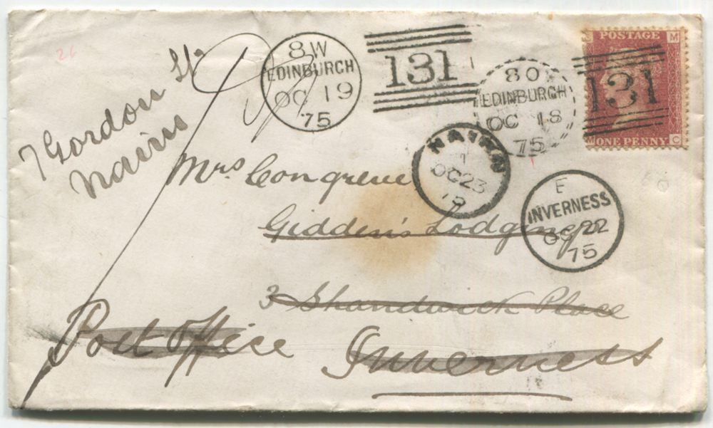 1875 envelope from Edinburgh to Inverness & redirected in Inverness, franked 1d Stars