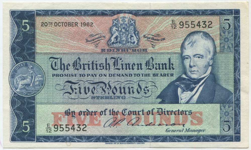 British Linen Bank 1962 Sir Walter Scott £5 Anderson