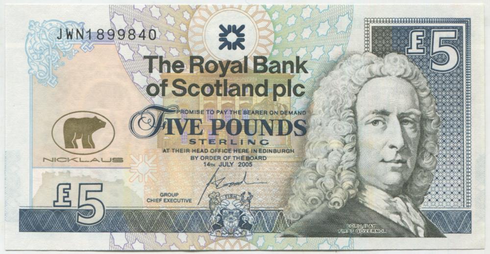 Royal Bank of Scotland 2005 £5 Jack Nicklaus