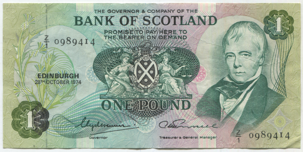 Bank of Scotland 1974 £1 Clydesmuir/Russell