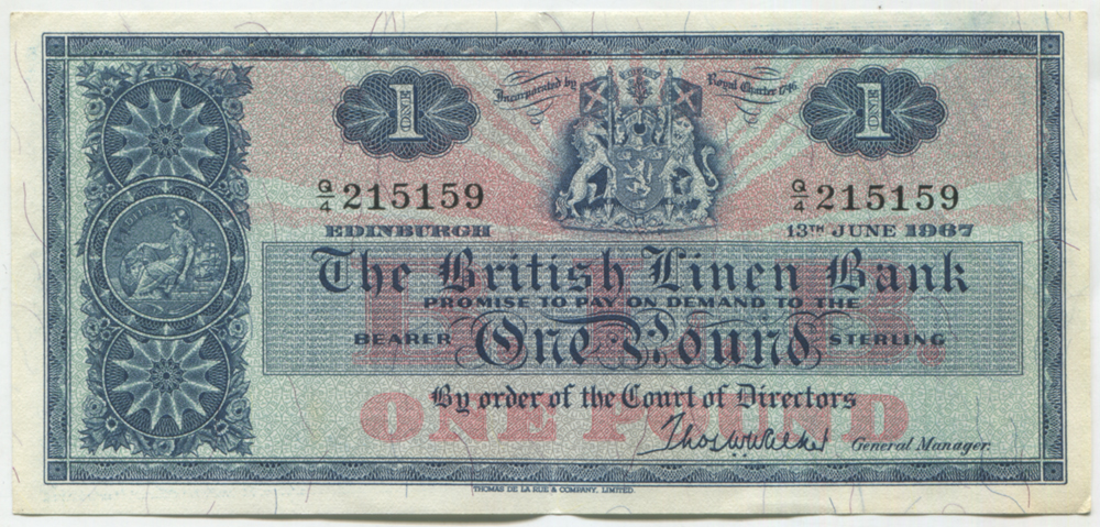 British Linen Bank 1967 June £1 'Walker'