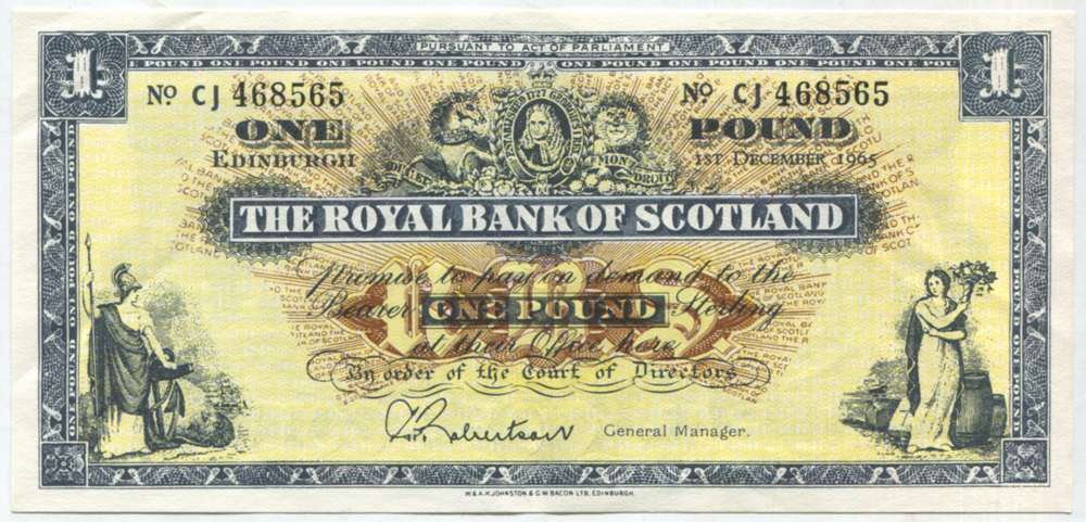 Royal Bank of Scotland 1965 £1 Robertson