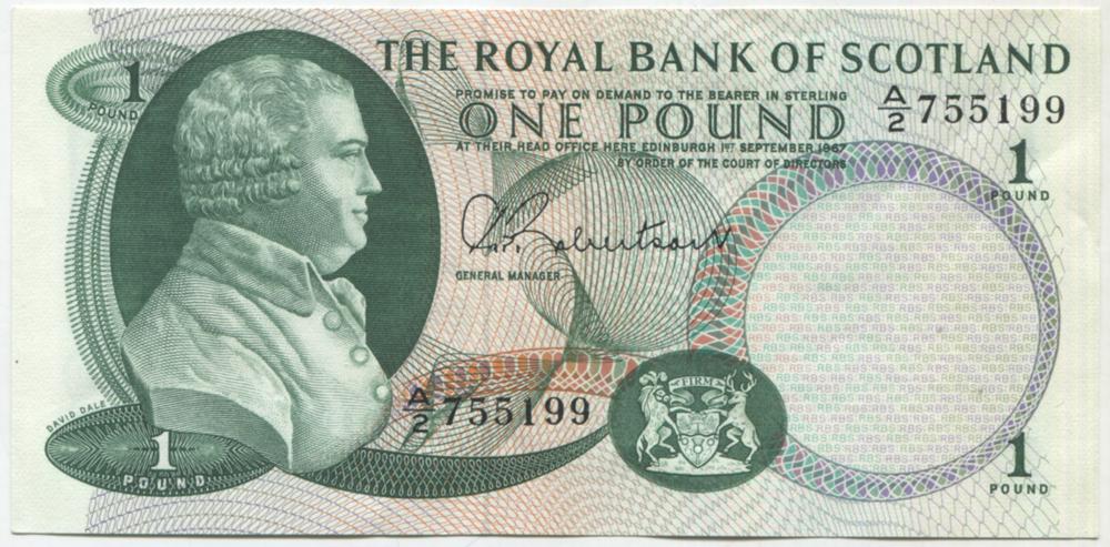 Royal Bank of Scotland 1967 £1 Dale