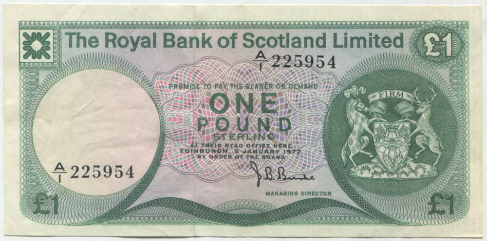 Royal Bank of Scotland 1972 £1 Edinburgh Castle