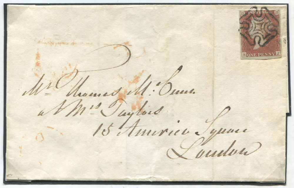 1841 cover from Greenock to London, franked red from black Plate 9 SJ