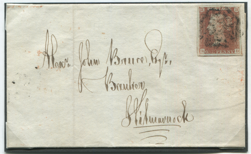 1841 June 16th cover from Mauchline to Kilmarnock, franked red from black Plate 11 RD