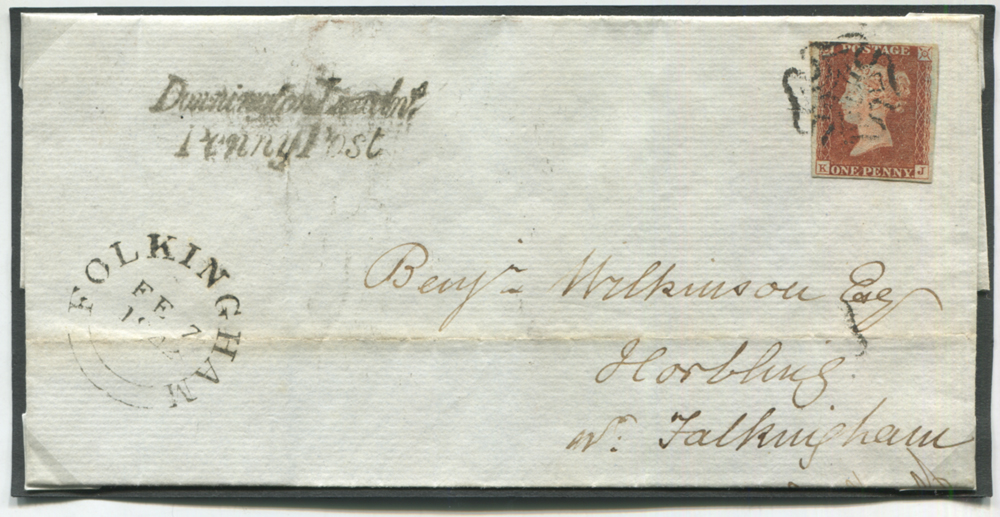 1842 Feb 6th cover from Spalding to Horbling nr Folkingham, franked red from black Plate 11 KJ