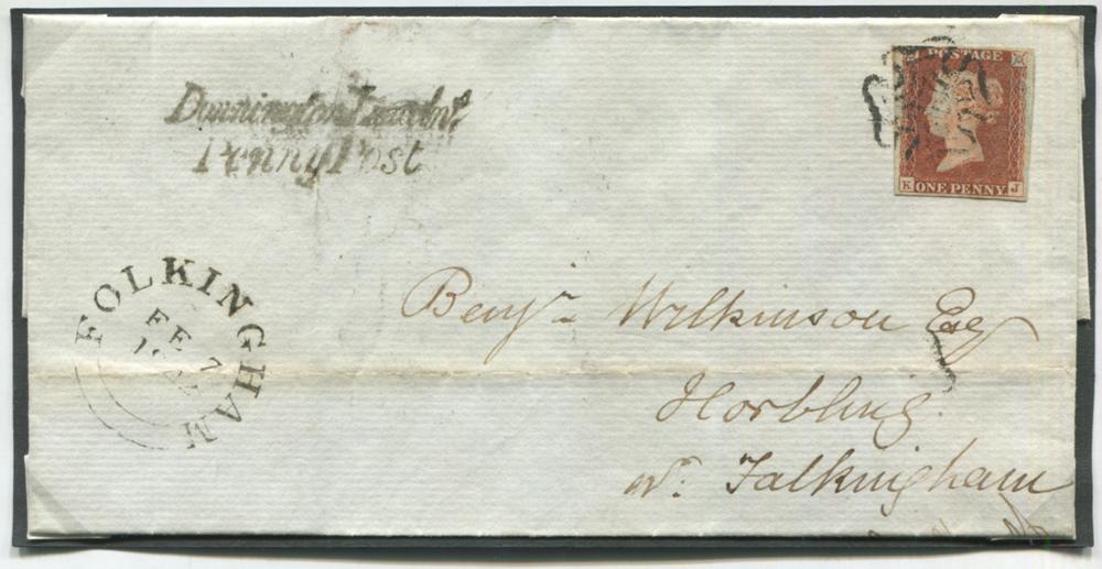 1842 Feb 6th cover from Spalding to Horbling nr Folkingham, franked red from black Plate 11 KJ