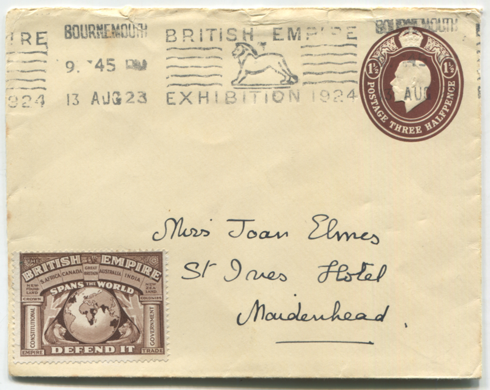 1924 British Empire Exhibition 1½d stationery envelope cancelled by 'Kragg' continuous slogan cancel of Bournemouth