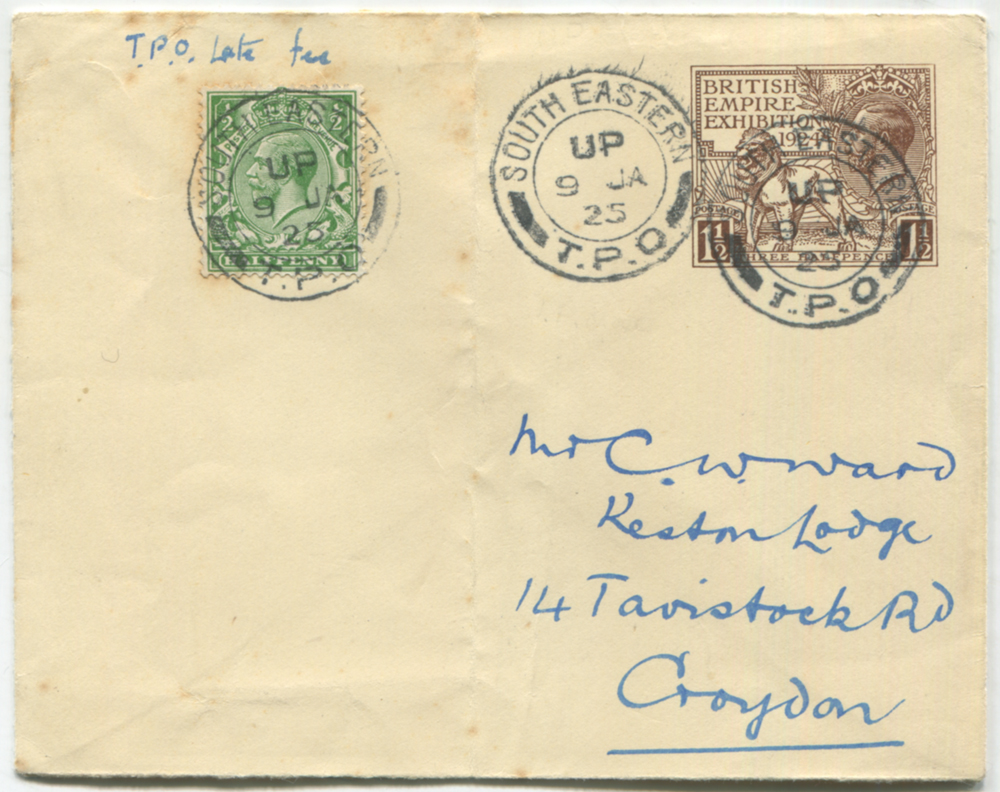 1924 British Empire Exhibition 1½d stationery envelope uprated with ½d green defin