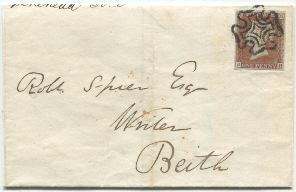 1842 cover from Largs to Beith, franked 1841 1d JH, superb black Maltese Cross