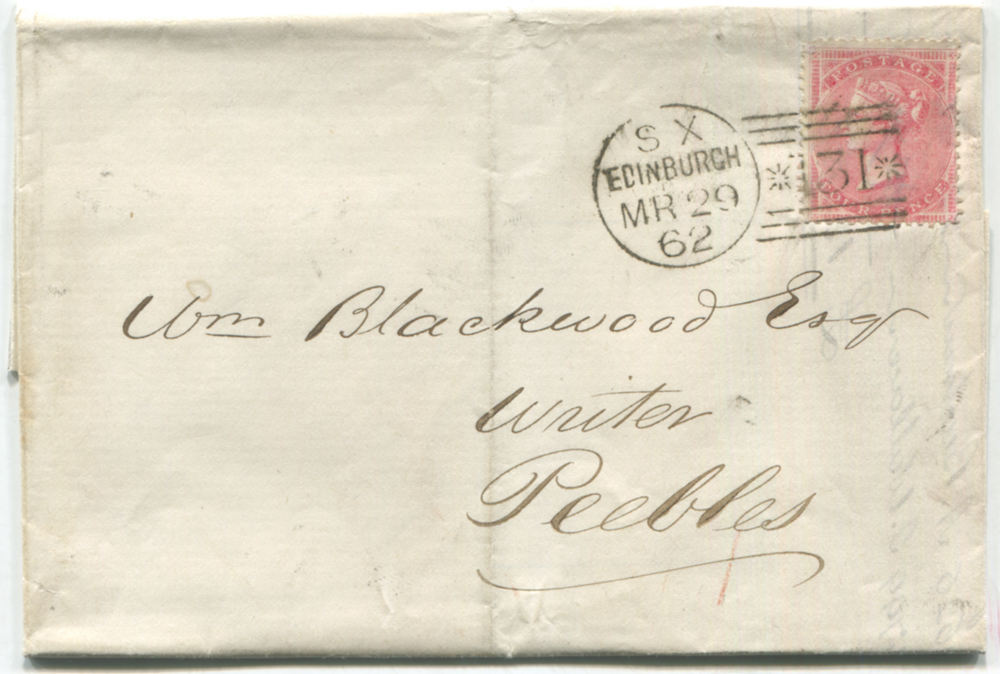 1862 cover from Edinburgh to Peebles, franked 4d rose carmine Wmk Large Garter