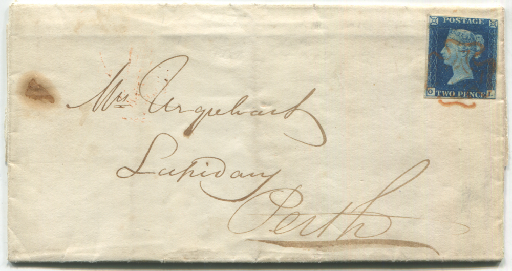 1841 Jan cover from Edinburgh to Perth, franked Pl.2 OL
