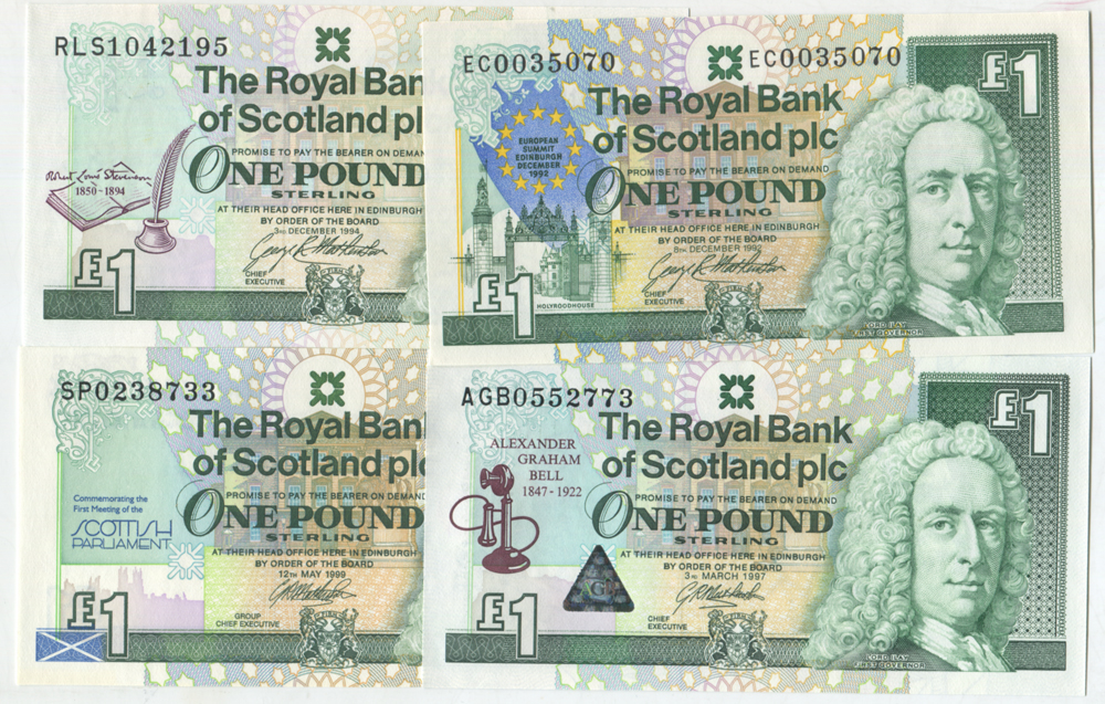 Royal Bank of Scotland £1 commemorative set of four
