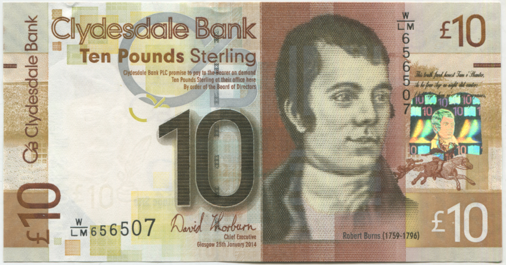 Clydesdale Bank 2014 Robert Burns £10 Thorburn (W/LM656507) UNC, P.231b.