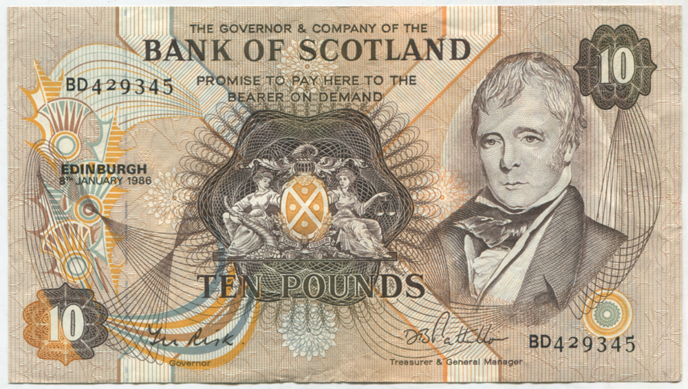 Bank of Scotland 1986 Sir Walter Scott £10