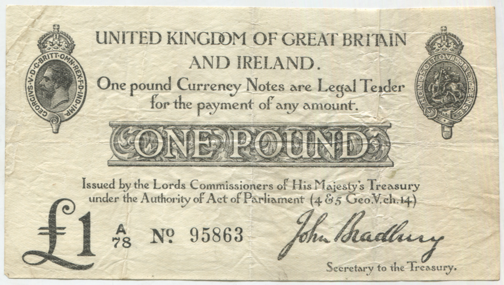 1914 Bradbury £1 black (second issue)