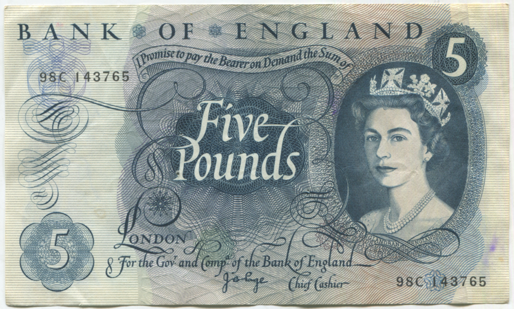 1971 Page £5 blue