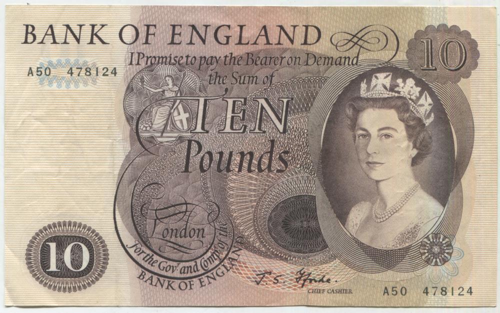 1967 Fforde £10 brown