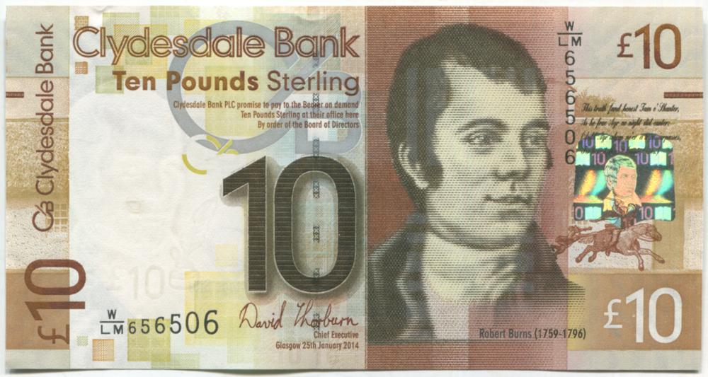 Clydesdale Bank 2014 Robert Burns £10