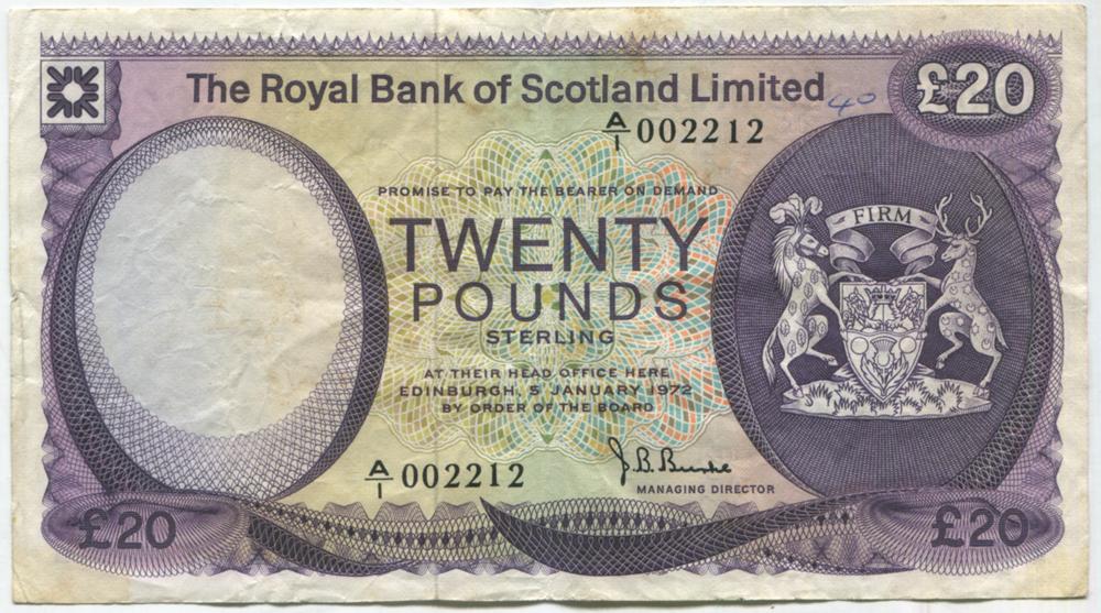 Royal Bank of Scotland 1972 £20