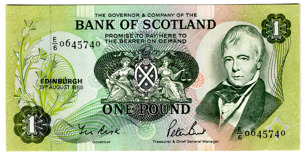 Bank of Scotland 1988 Sir Walter Scott £1
