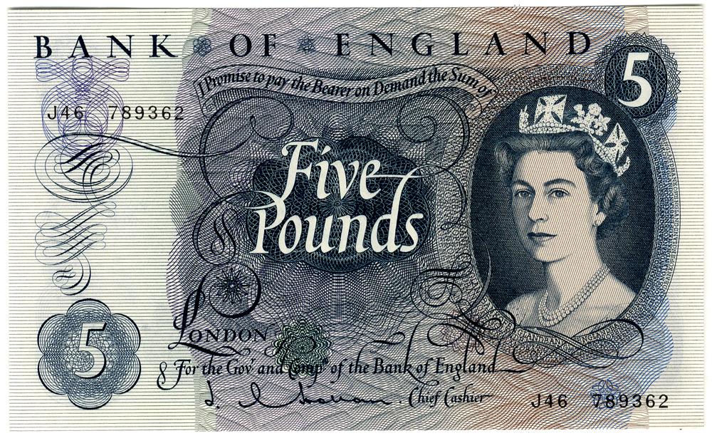 1963 Hollom £5 blue
