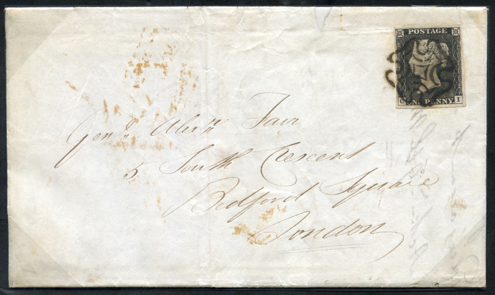 1841 March 5th cover from Colinsburgh (Fife) to London, franked Pl.3 CI