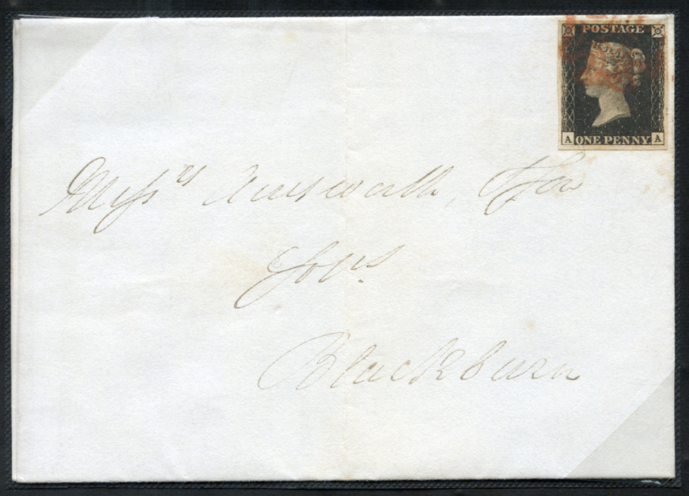 1841 Jan 18th cover (with contents) from Huddersfield to Blackburn, franked Pl.6 AA