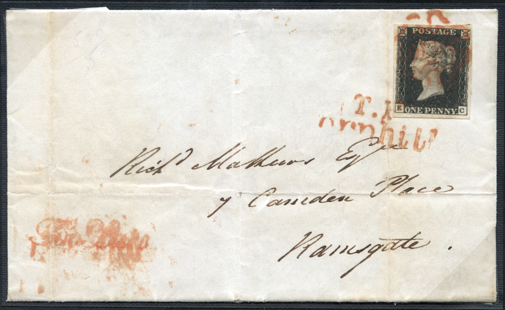 1840 July 31st cover from London to Ramsgate, franked Pl.7 EC