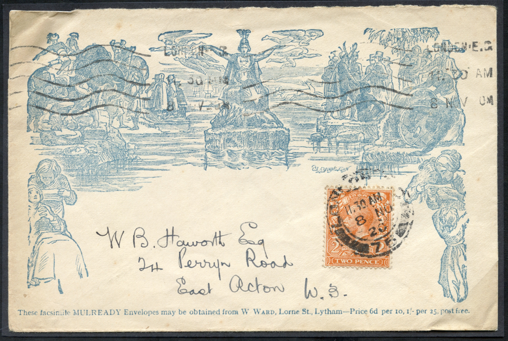 1912 2d orange (Die I) Royal Cypher used on a blue reproduction Mulready addressed to East Acton