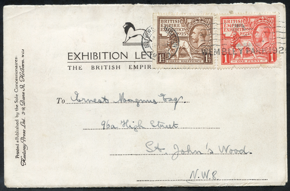 1924/25 Wembley Exhibition letter card sent from the exhibition to St. John's Wood