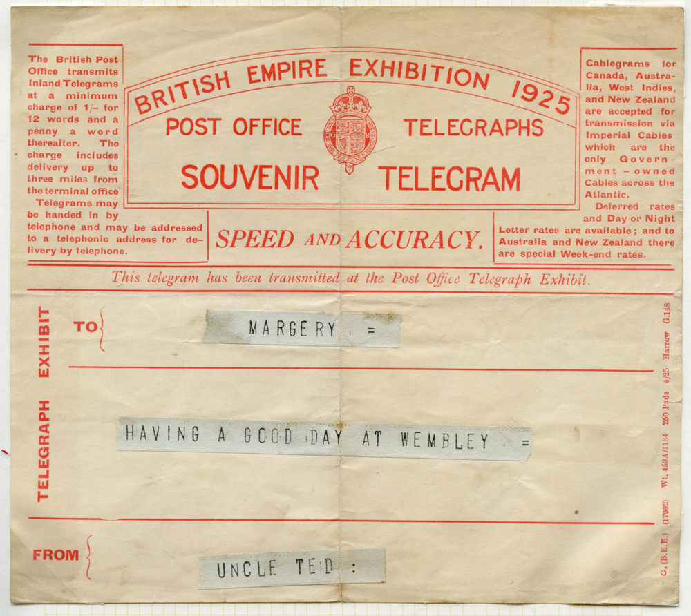 1925 British Empire Exhibition Telegram to 'MARGERY'
