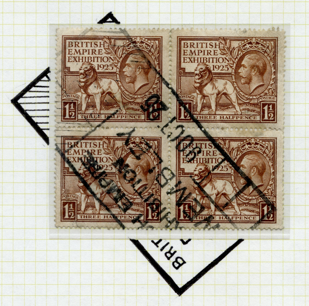 1925 Wembley Exhibition 1½d value in a block of four cancelled by the British Empire Exhibition parcel obliterator