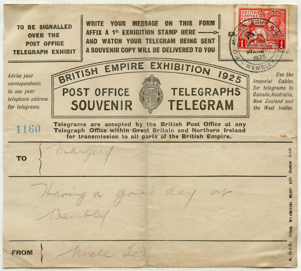 1925 British Empire Exhibtion Telegram hand written from 'Uncle Ted'