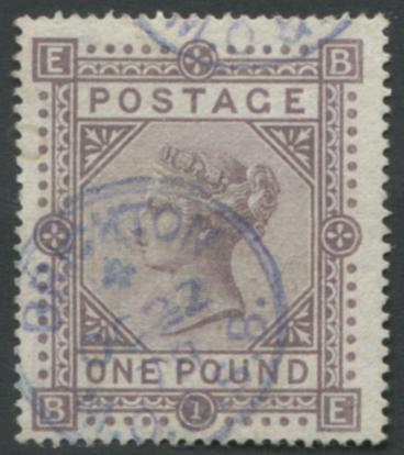 1867-83 Wmk Maltese Cross £1 brown lilac - VFU