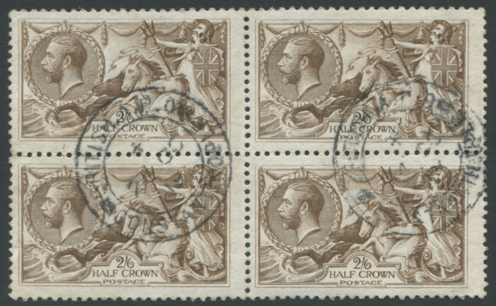1918 Bradbury 2/6d brown - VFU block of four